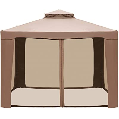 LOVSHARE Outdoor Canopy Gazebo 10x10ft with Four Sandbags - Pop Up Gazebo with Netting - Patio Gazebo Brown for Backyard, Outdoor, Patio and Lawn : Garden & Outdoor