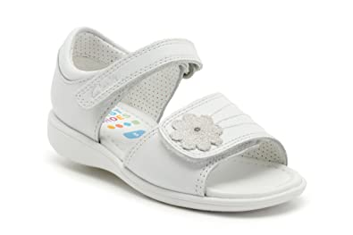 f7d4a9009b50d Clarks Girls Pre-School Hazy Amy Fst Leather Sandals In White ...