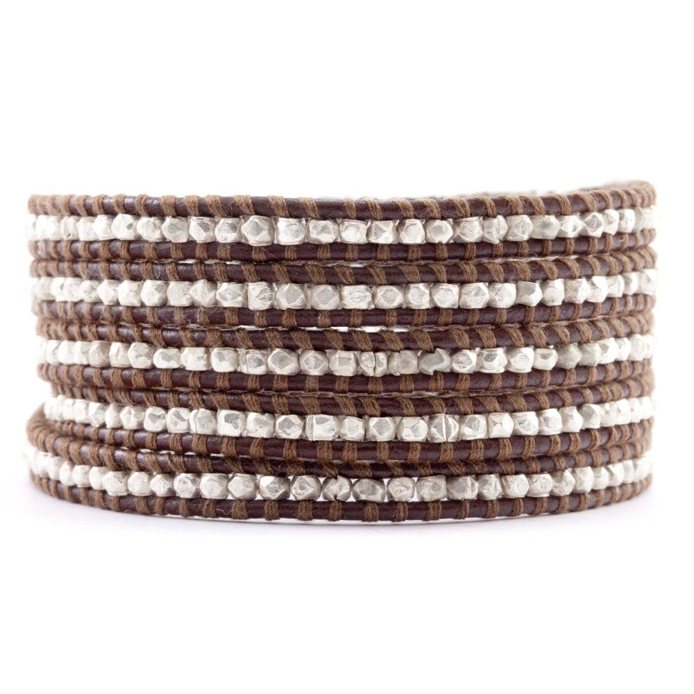 Chan Luu Sterling Silver Wrap Bracelet on Brown Leather