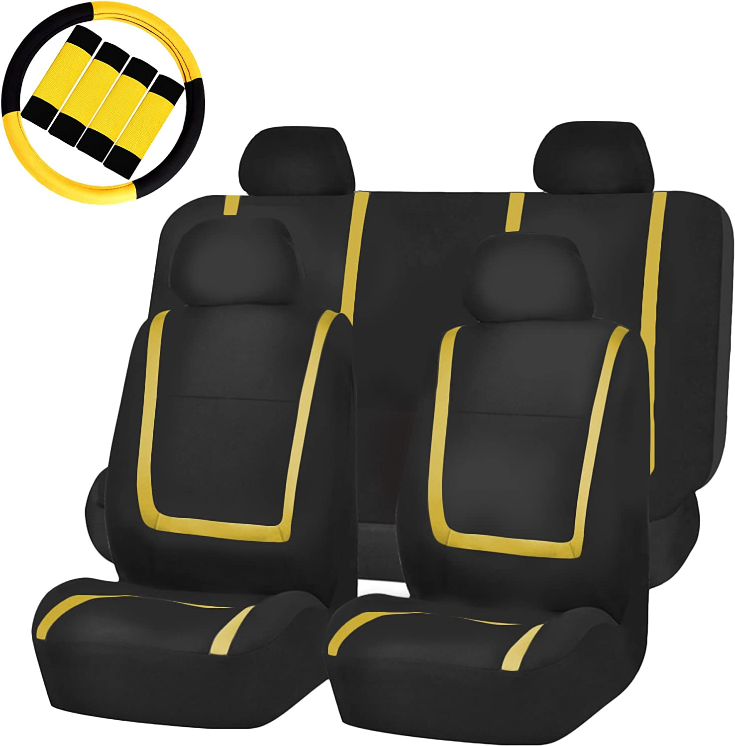 FH Group FH-FB032114 Unique Flat Cloth Full Set Car Seat Covers, Yellow/Black with FH2033 Steering Wheel Cover and Seat Belt Pads- Fit Most Car, Truck, SUV, or Van