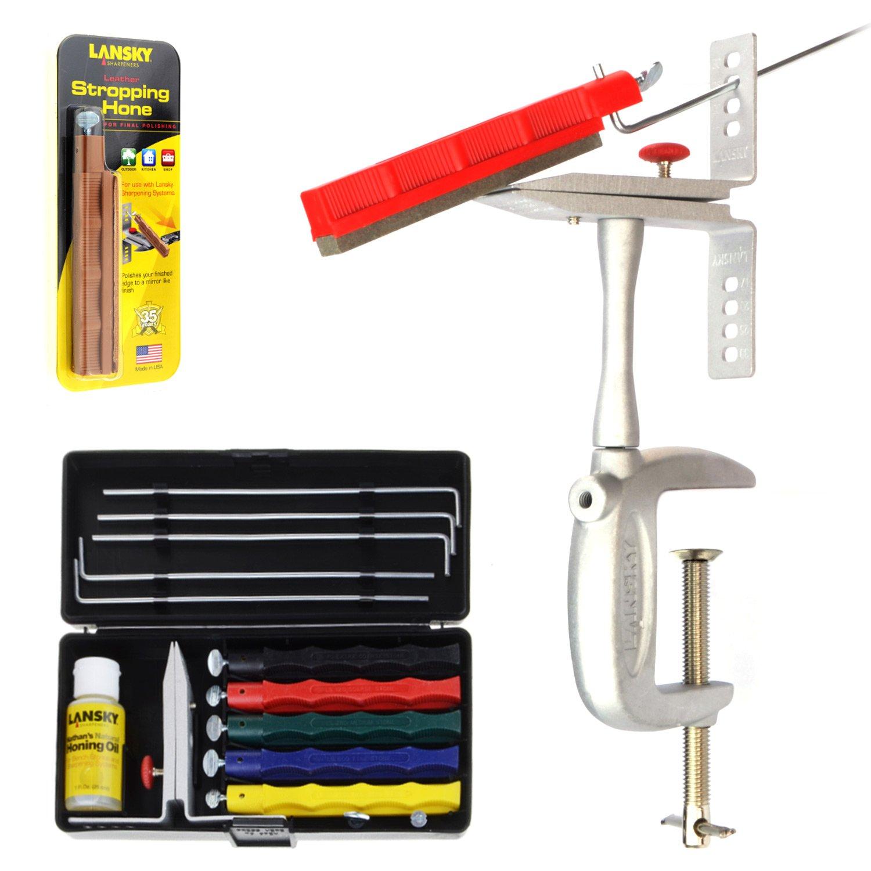 Lansky Deluxe Schleif-Set, Profi Messer-Schärfer mit 5 Schleifsteinen & Winkel-Hilfe + Tischmontage + Leder-Abziehstein