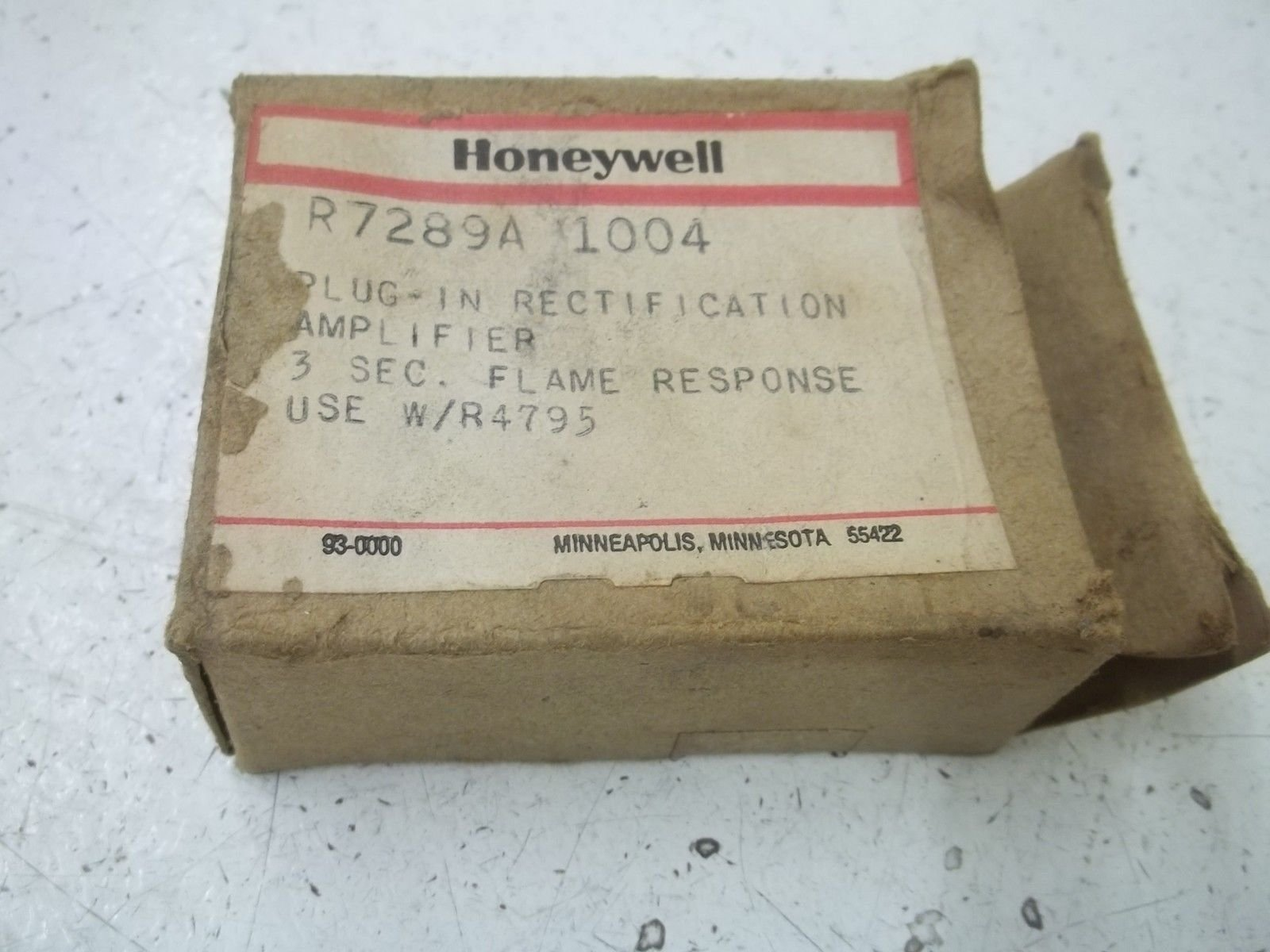 Honeywell R7289A1004 Flame Amplifier, Rectification, FFRT, 3.0 seconds for R4795
