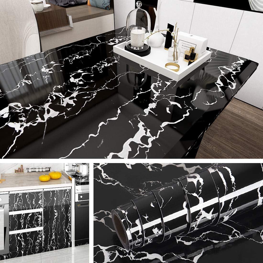 Papel de contacto de mármol negro impermeable 40x200cm