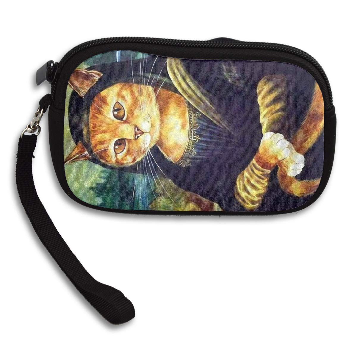 Coin Purse Mona Lisa Cat wallet change Purse with Zipper Wallet Coin Pouch Mini Size Cash Phone Holder