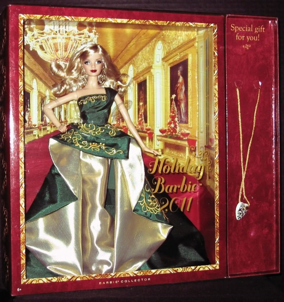Mattel Holiday Barbie 2011 with Free Gift Necklace Caucasian