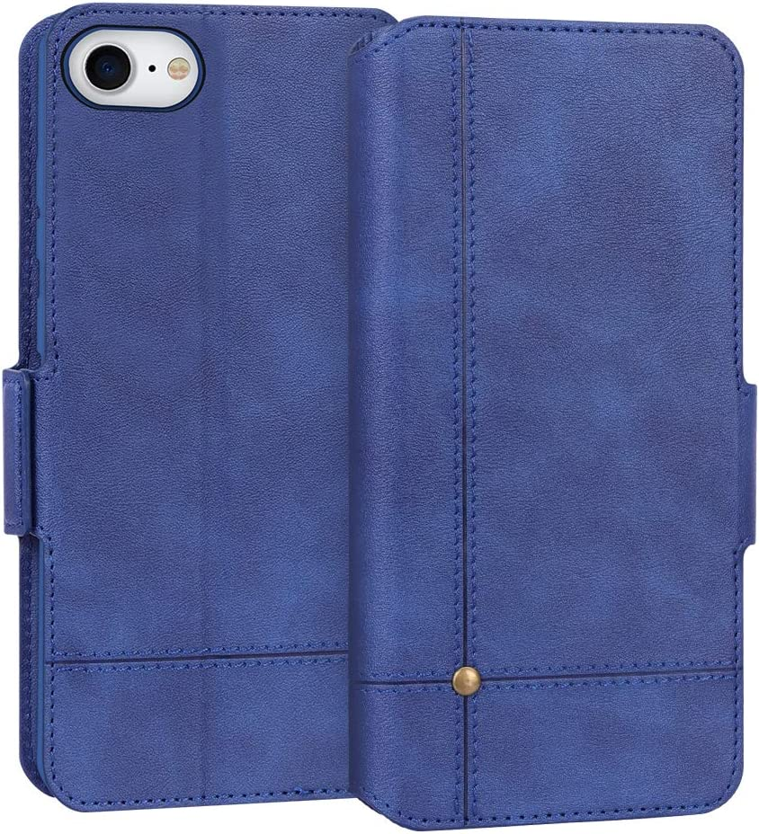 """FYY Case for iPhone 7/8/SE 2020 (2nd), Ultra Slim Flip Leather Wallet Phone Case Protective Shockproof Cover with Card Holder Kickstand Folio Case for Apple iPhone 7/8/SE 2020 4.7"""" Navy"""
