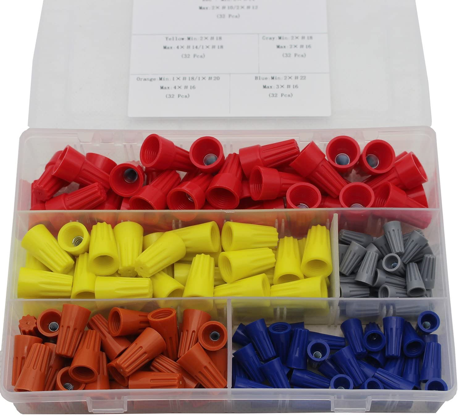 TwistNuts Caps Wire Connection,Spring Insert Wire Nuts Assortment kit 240 Pcs Electrical Wire ConnectorsScrew Terminals