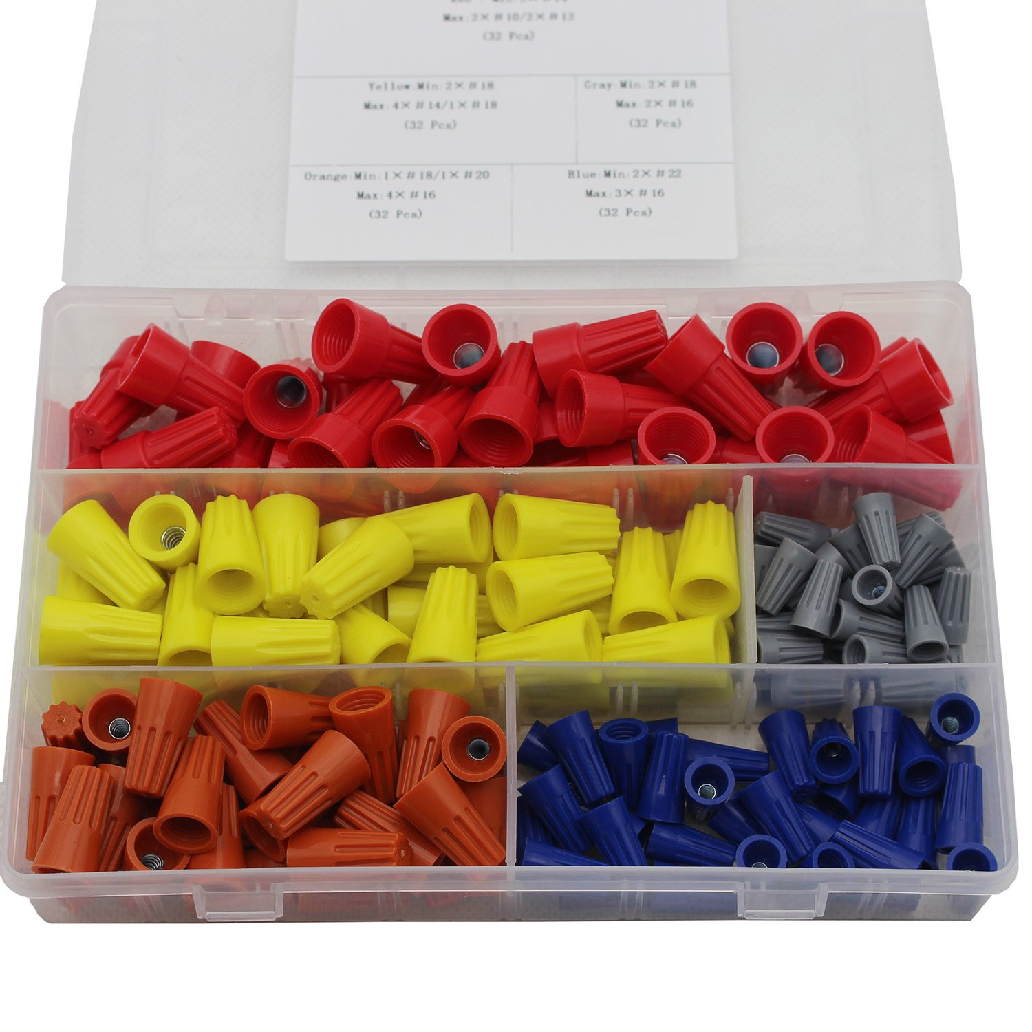 FUNMANY Wire Connectors Screw Terminals with Spring Insert Twist Nuts Caps Connectors Assortment Kit for 160pcs