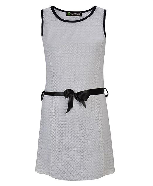 LotMart Ragazze senza maniche con cintura vestito estivo pizzo Texture   Amazon.it  Abbigliamento e1bfd3bf856