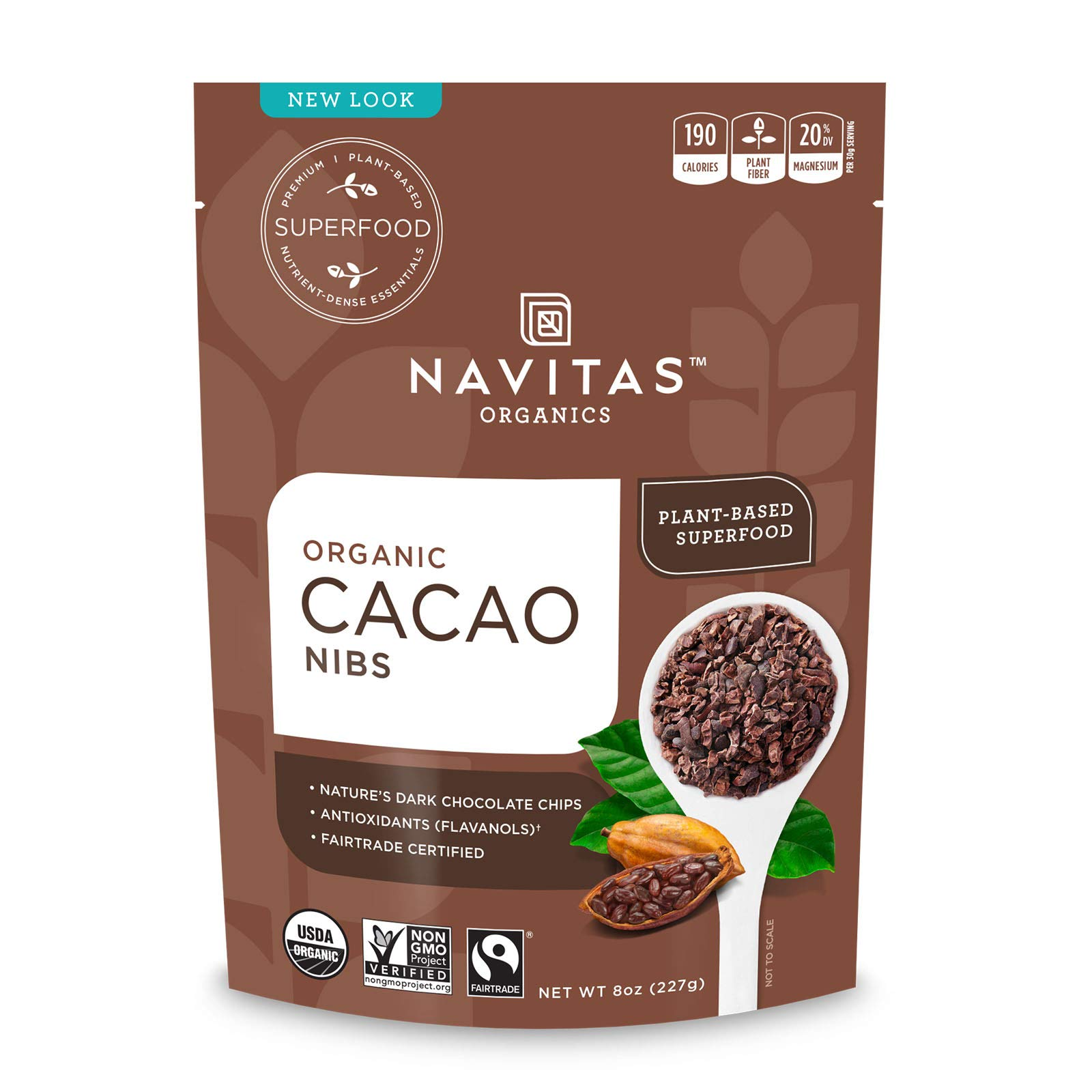 Navitas Organics Raw Cacao Nibs, 8 oz. Bag, 8 Servings — Organic, Non-GMO, Fair Trade, Gluten-Free