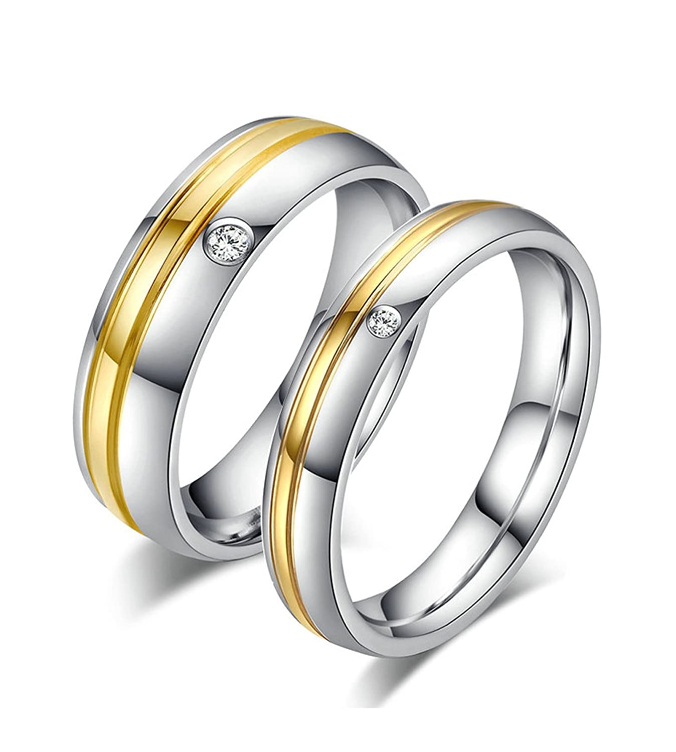 Beydodo 1PCS Stainless Steel Ring Size 5-12 Cubic Zirconia Round 4//6MM Width Couples Ring