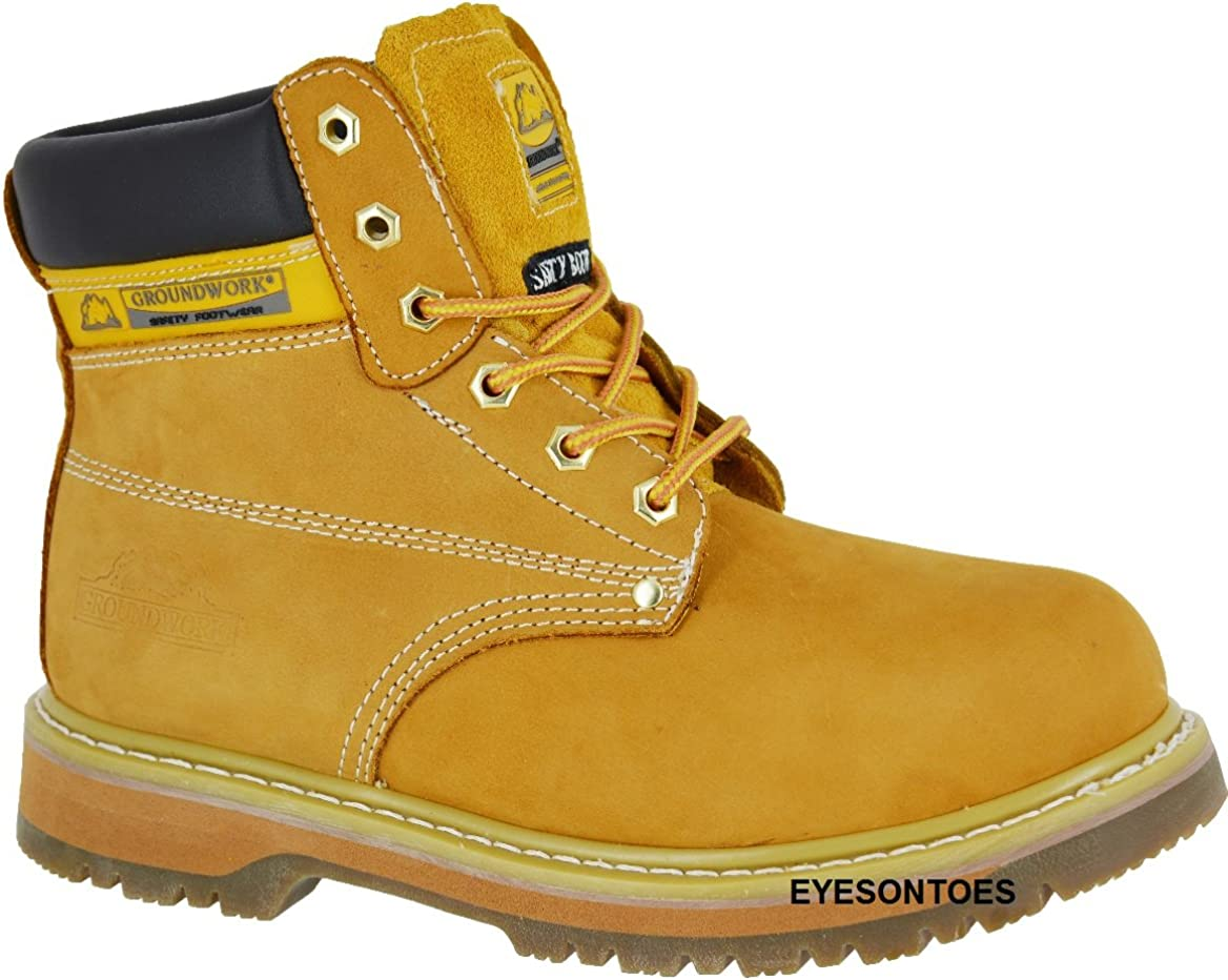 LADIES GROUNDWORK SAFETY STEEL TOE CAP WORK HIKING LEATHER TRAINERS BOOTS SIZE