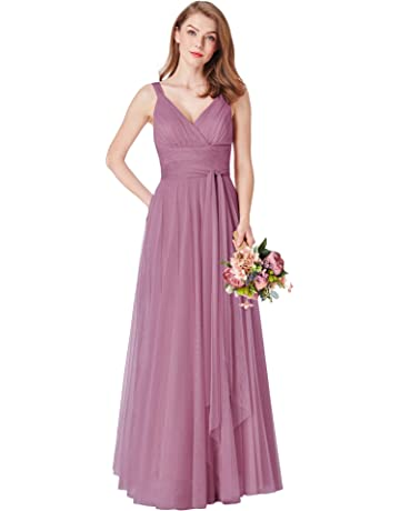 efc80412612c Ever-Pretty Women s Elegant V Neck Floor Length A Line Empire Waist Long  Tulle Bridesmaid