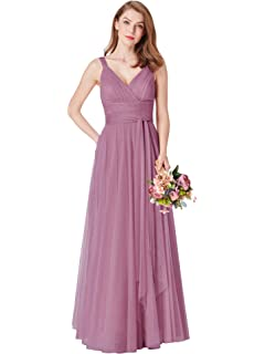 366bfe3d0ca Ever-Pretty Women s Elegant V Neck Floor Length A Line Empire Waist Long  Tulle Bridesmaid