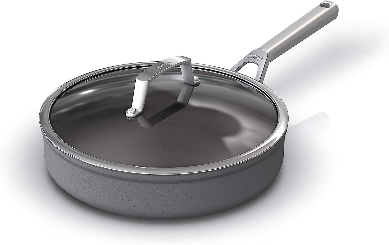 grey Foodi NeverStick Premium Hard-Anodized 3 1//2-Quart Saucepan with Glass Lid