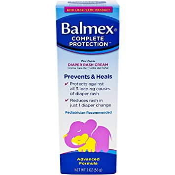 Balmex Complete Protection Zinc Oxide Diaper Rash Cream 2oz (56g). Prevents and Heals