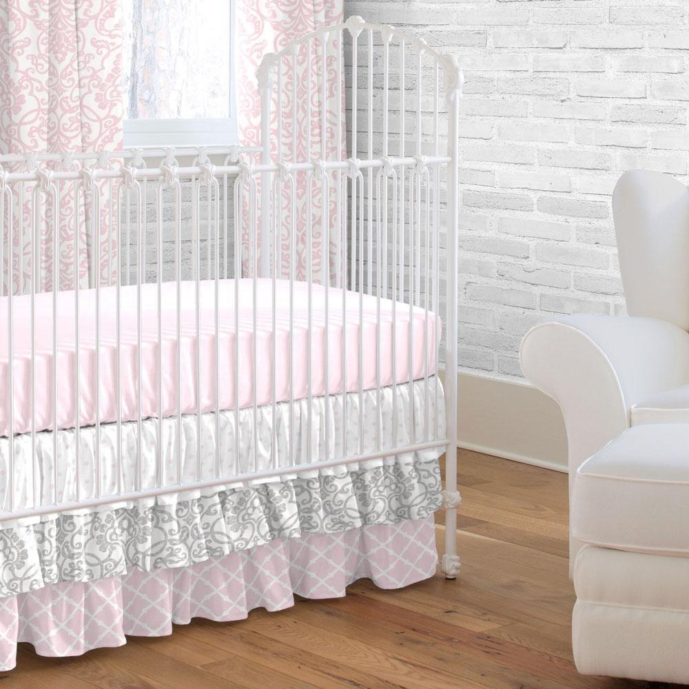 Carousel Designs Pink and Gray Filigree Crib Skirt Three Tier 18-Inch Length