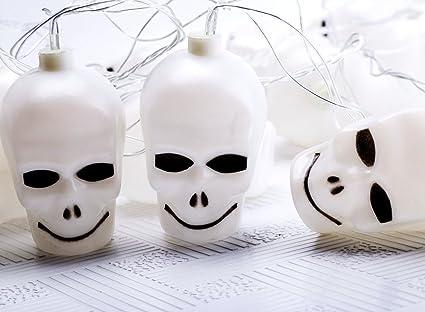 aotosolo halloween skull lights halloween props skull ghost 16 skeleton head string lights led lamp