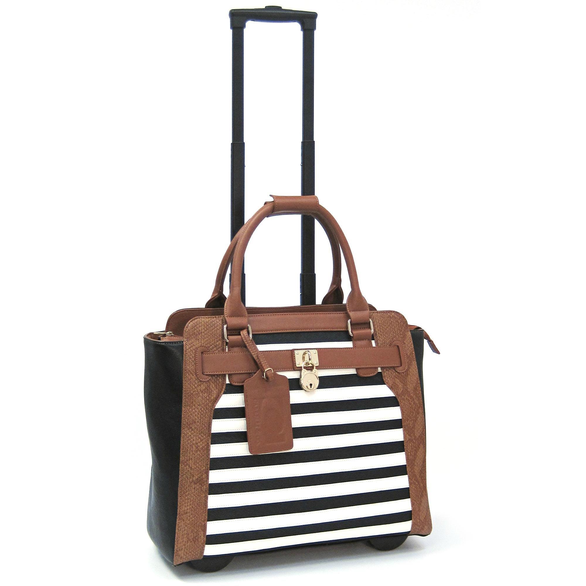 Cabrelli Sally Stripe 15'' Laptop Rollerbrief (Black/White/Cognac)