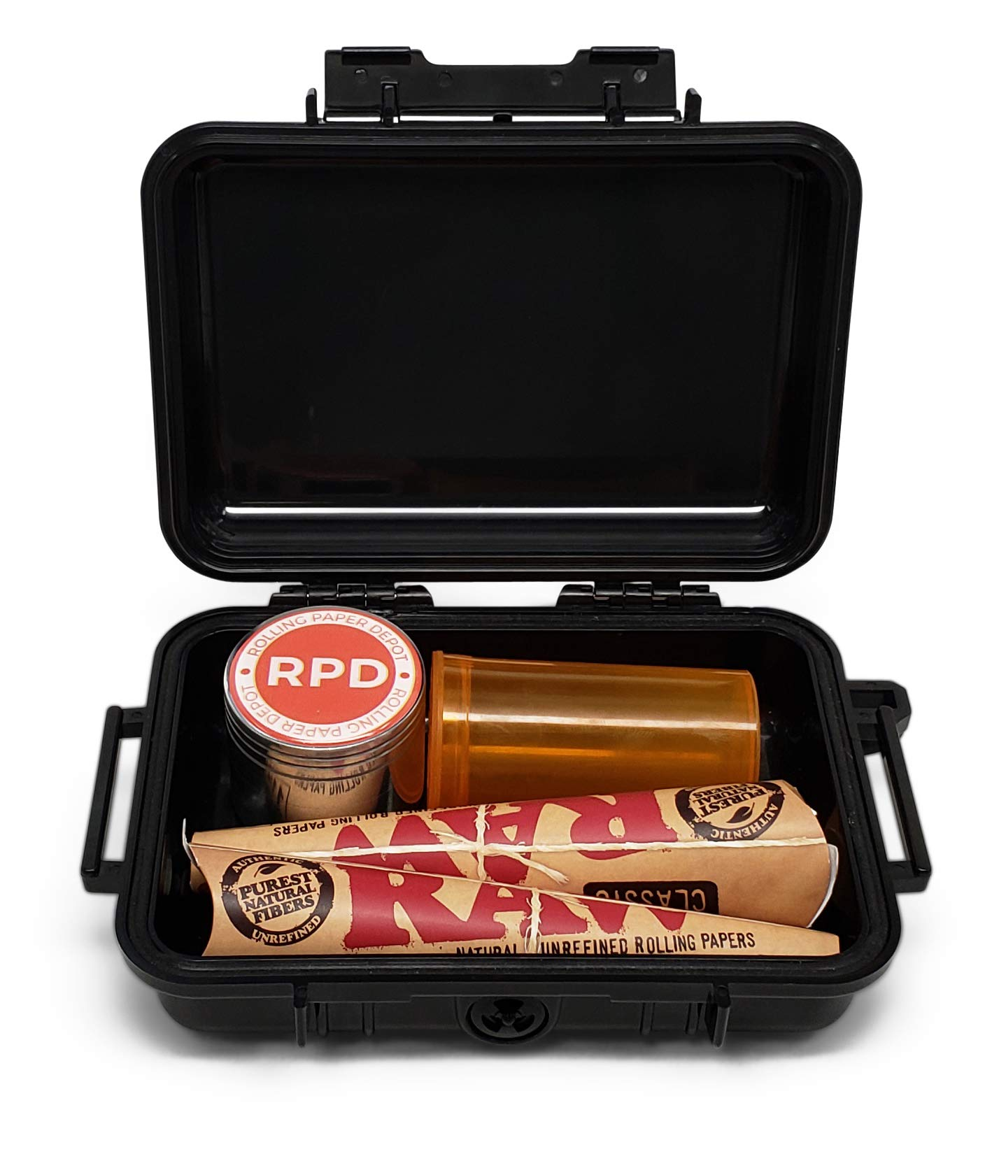 RAW Pre Rolled Cones 1 1/4 (2 Packs of 6) with Leaf Lock Gear Airtight Travel Case, Rolling Paper Depot 42mm Grinder and Pop Top Storage Container - 5 Item Bundle