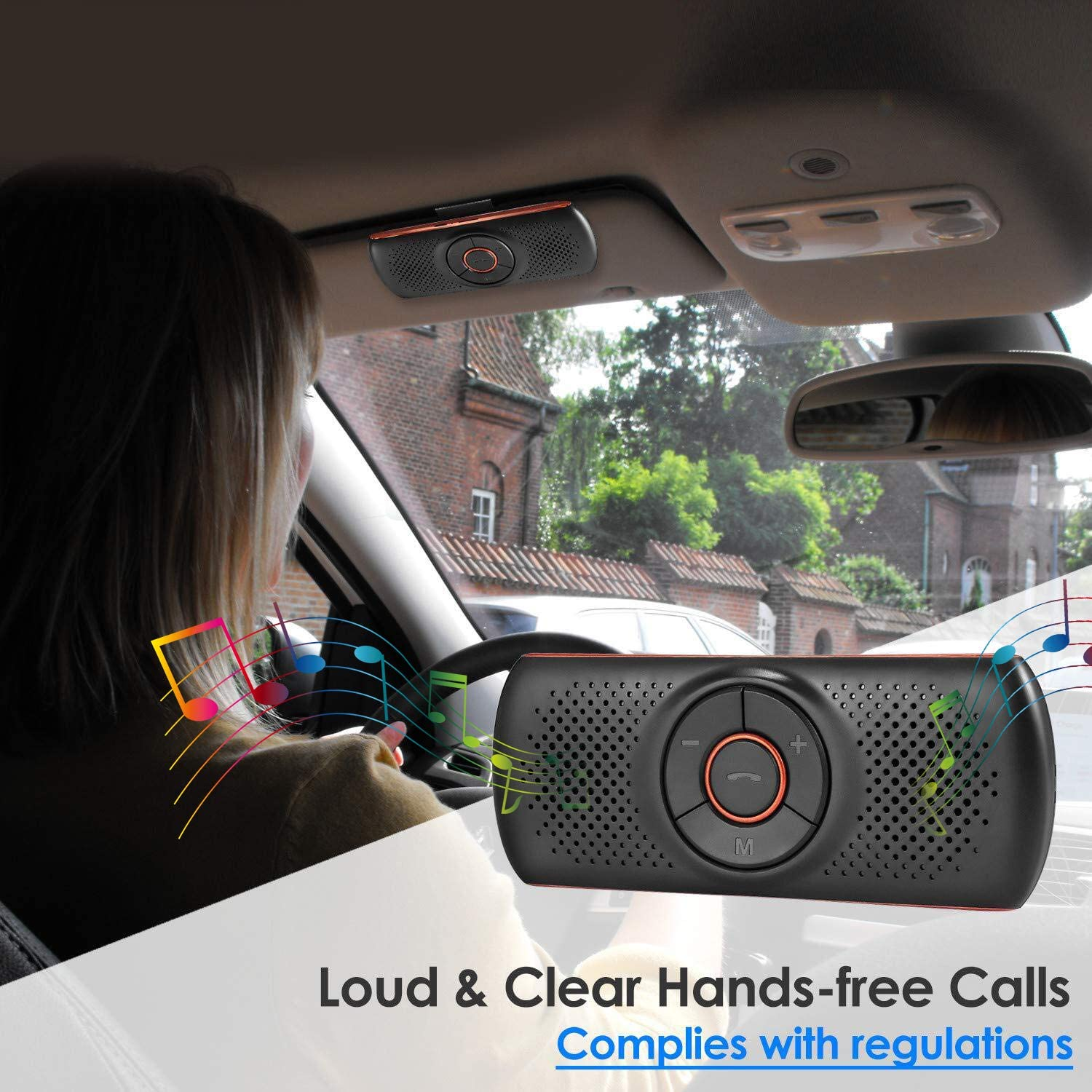 Aigoss Bluetooth Car Speakerphone Wireless Car Kit for Handsfree Talking Car Stereo Music Receiver Player Built-in Mic//TF Card Player//Siri /& Google Assistant
