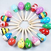 JBBERTH Sand Hammer 4 pcs, Wooden Maracas Kids Handmade Wooden Rattles, Baby Music Rattles Shaker, Random Color Pattern