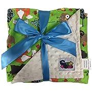 Boys Reversible Minky Dot Stroller Blanket Green Woodland Animals