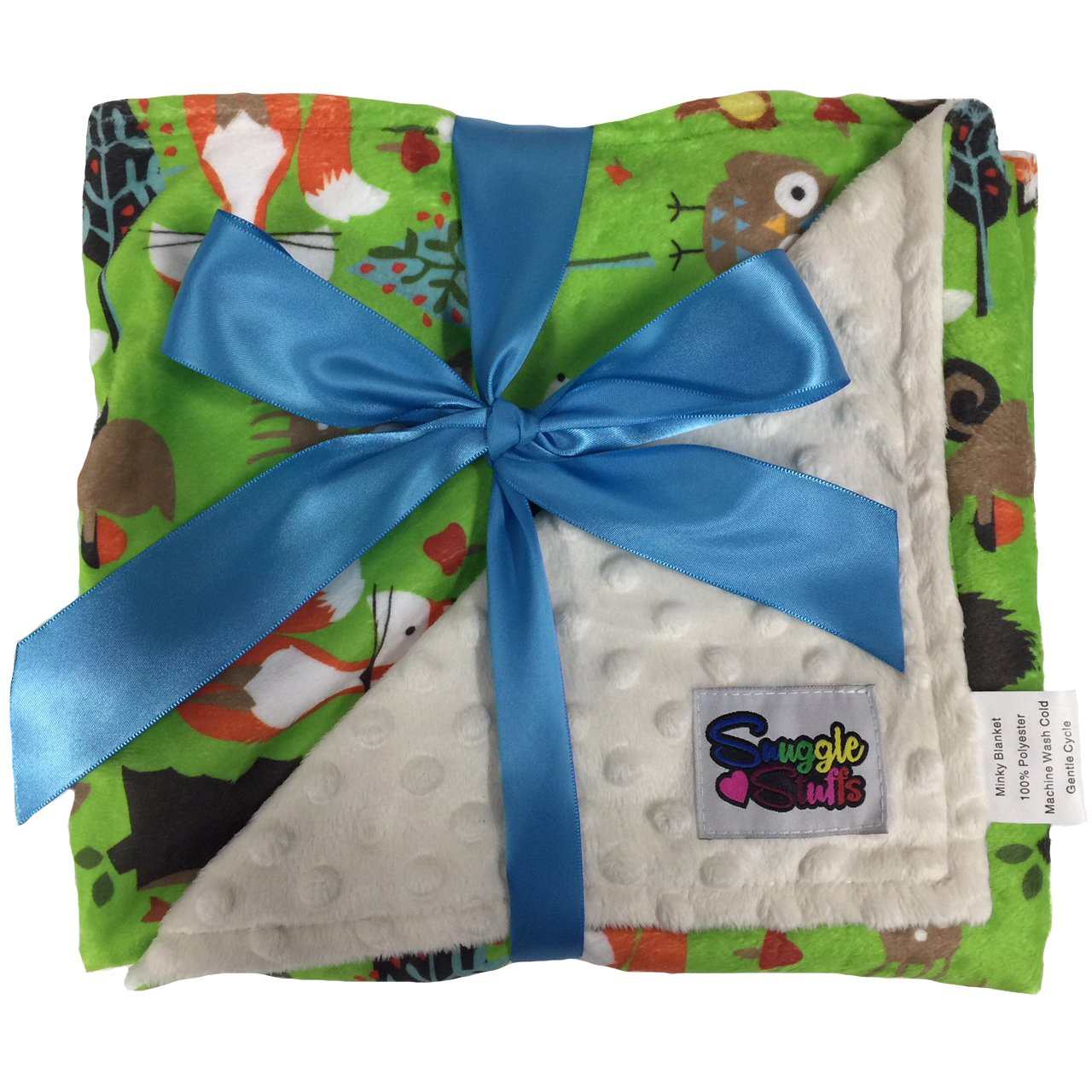 Boys Reversible Minky Dot Stroller Blanket Green Woodland Animals