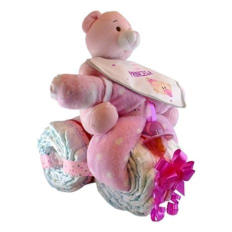 Tarta de pañales con forma de moto para niña