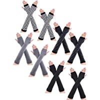 8 Pairs Winter Knitted Fingerless Gloves Long Thumb Hole Arm Warmer for Women Girls