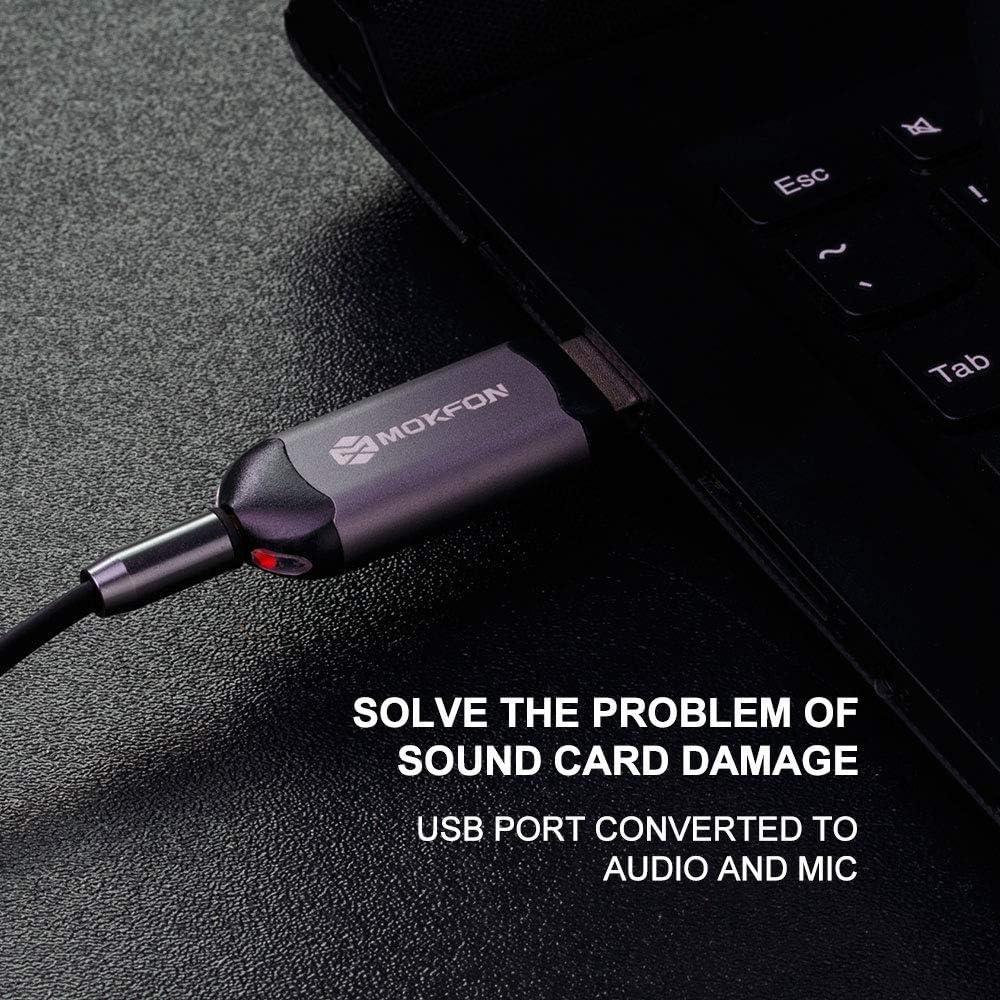 Amazon.com: Mokfon - Adaptador de sonido USB estéreo con dos ...