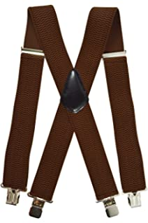 Red Ardisle Plain Thick Mens Braces Suspenders Adjustable Trouser Elastic