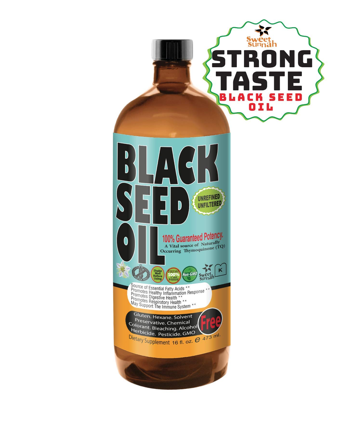 STRONG TASTE Premium Black Seed Oil Liquid - 2.20%+ Thymoquinone Cold pressed Source of Omega 3 6 9 Black Cumin Seed Oil from 100% Genuine Nigella Sativa - 16 oz Glass Bottle by Sweet Sunnah