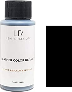 Leather Restore Leather Color Repair, Black 1 OZ - Repair, Recolor and Restore Couch, Furniture, Auto Interior, Car Seats, Vinyl and Shoes