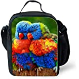 Showudesigns Parrot Design Adults Kids Shoulder Lunchbox Bag Thermal Insulated