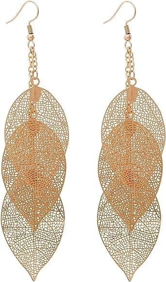 large drop earrings gold earrings Large Leaf Earrings statement earrings