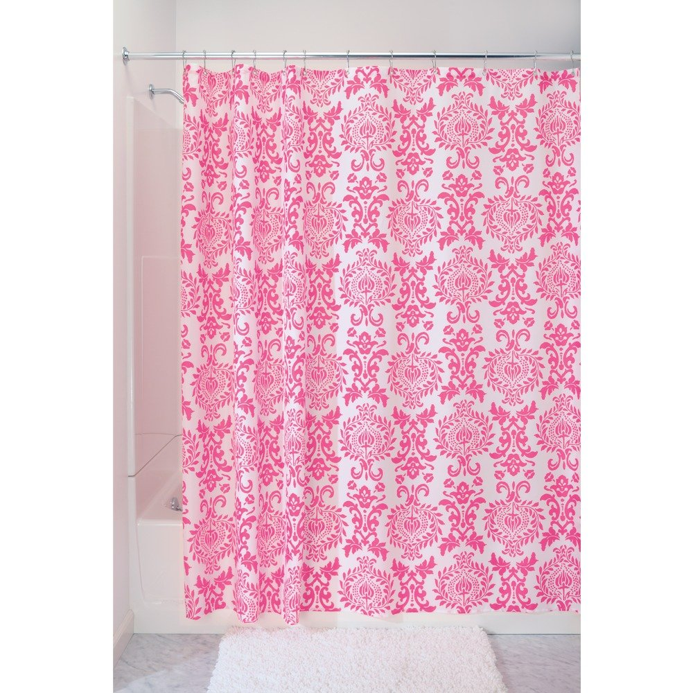 Hot pink curtains - Amazon Com Interdesign Damask Fabric Shower Curtain 72 X 72 Hot Pink Home Kitchen