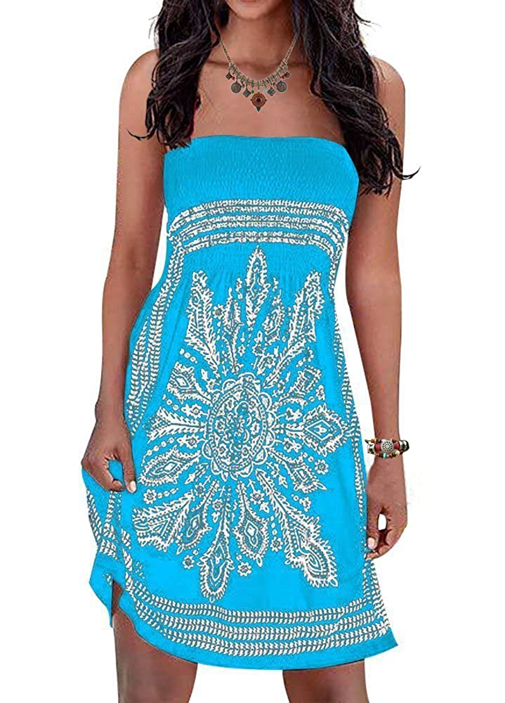 0b24b8aded2f0 Inital Women\'s Strapleess Floral print Bohemian Beach Dress Cover-up Dress  The matieral is comnfy and breazy. It is so soft and feels amazing to wear.