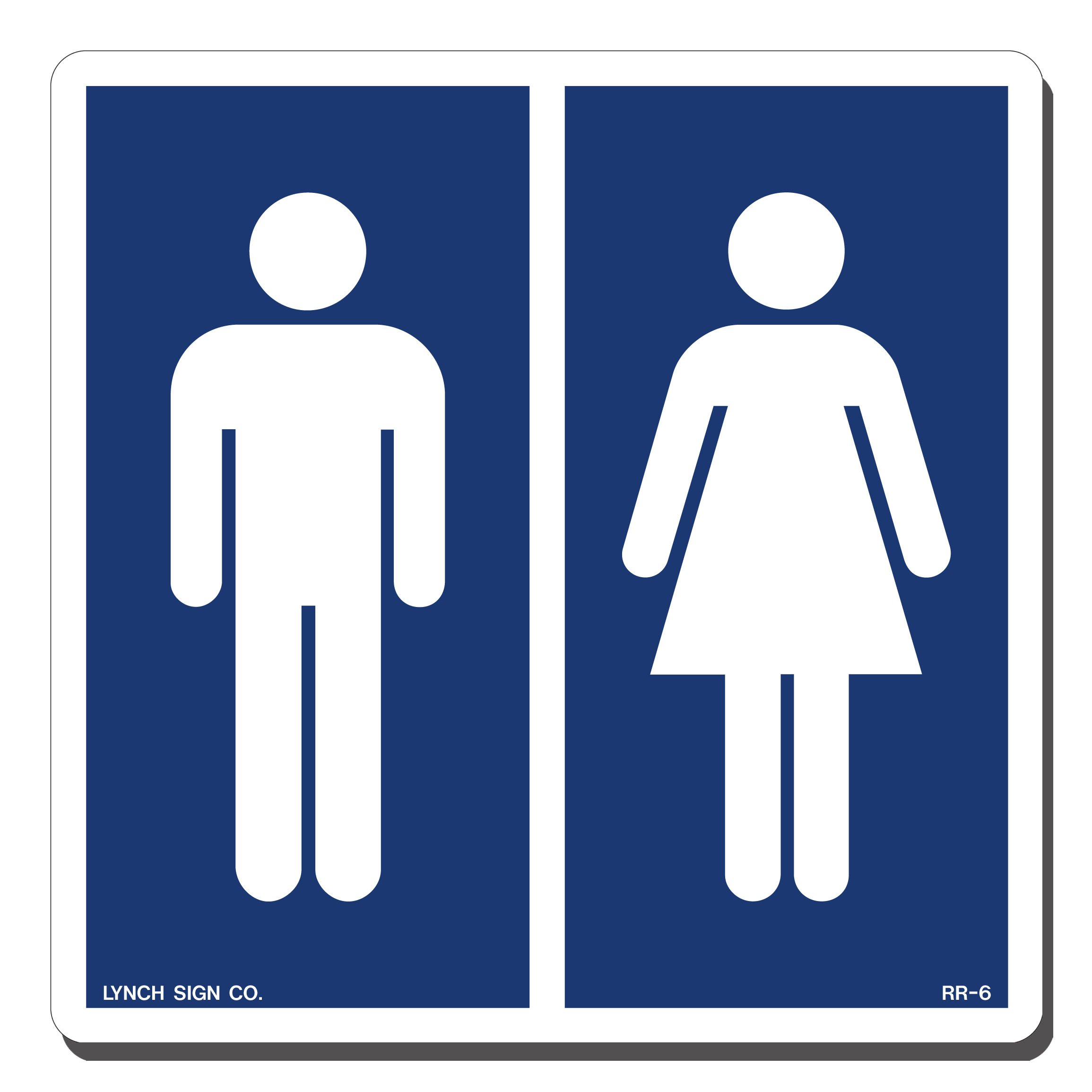 Lynch Signs 7 in. x 7 in. Sign Blue on White Plastic Men Women Symbol