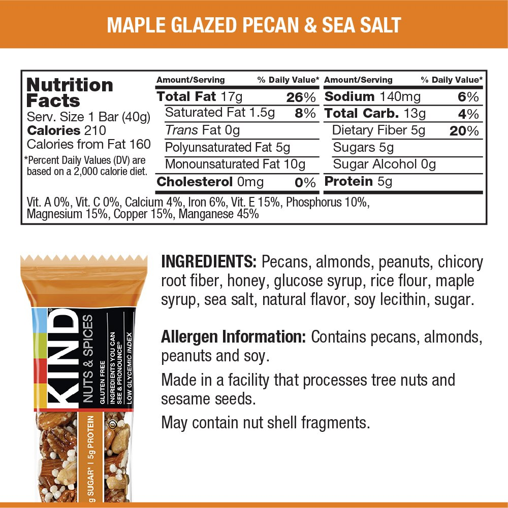 KIND Nuts & Spices, Maple Glazed Pecan & Sea Salt, 1.4 Ounce 12-Count Bars by KIND (Image #2)