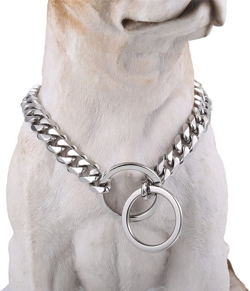 Loveshine Chain Dog Collar High Polished Silver Cuban Link Dog Chain 15MM Thick Choke Collar Metal Stainless Steel Heavy Duty Slip Dog Collars for Small 16in to 26in and Large Dogs Medium