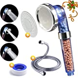 Luxsego Ionic Pure Filter Shower Head [IFS-001] with a Shower Hose, High Pressure & Water Saving Showerhead for Best Shower Experience, Anion Energy Ball Handheld Shower for Dry Hair & Skin SPA