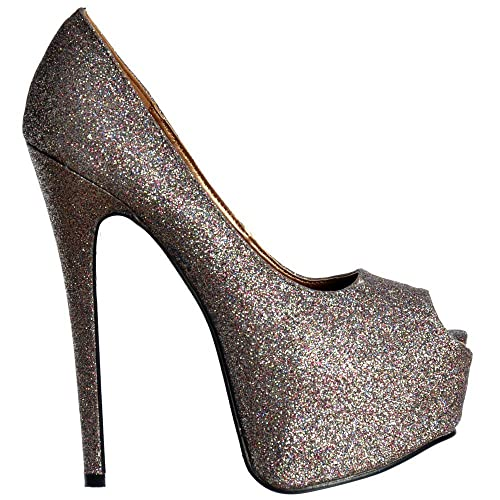 b16351acc5cc Onlineshoe Women s Sparkly Multi Glitter Peep Toe Stiletto Concealed  Platform High Heel Shoes - Multi Glitter