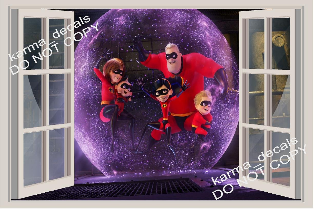 The Incredibles Window View Decal WALL STICKER Home Decor Art Mural 18, 24, 36 or 52 6 24 36 or 52 6
