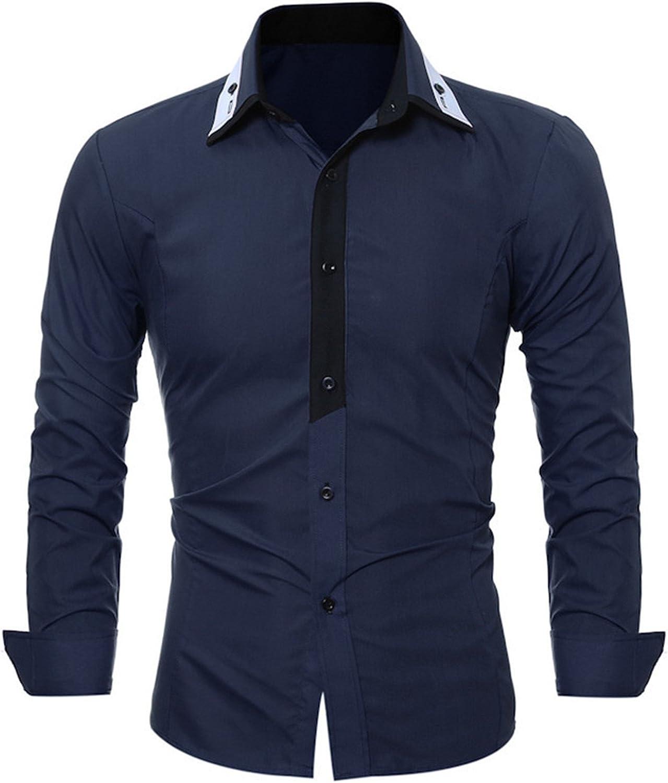 OnIn Fashion Male Shirt Long-Sleeves Tops Fashion Youth Hit Color Mens Dress Shirts Slim Men Shirt 3XL