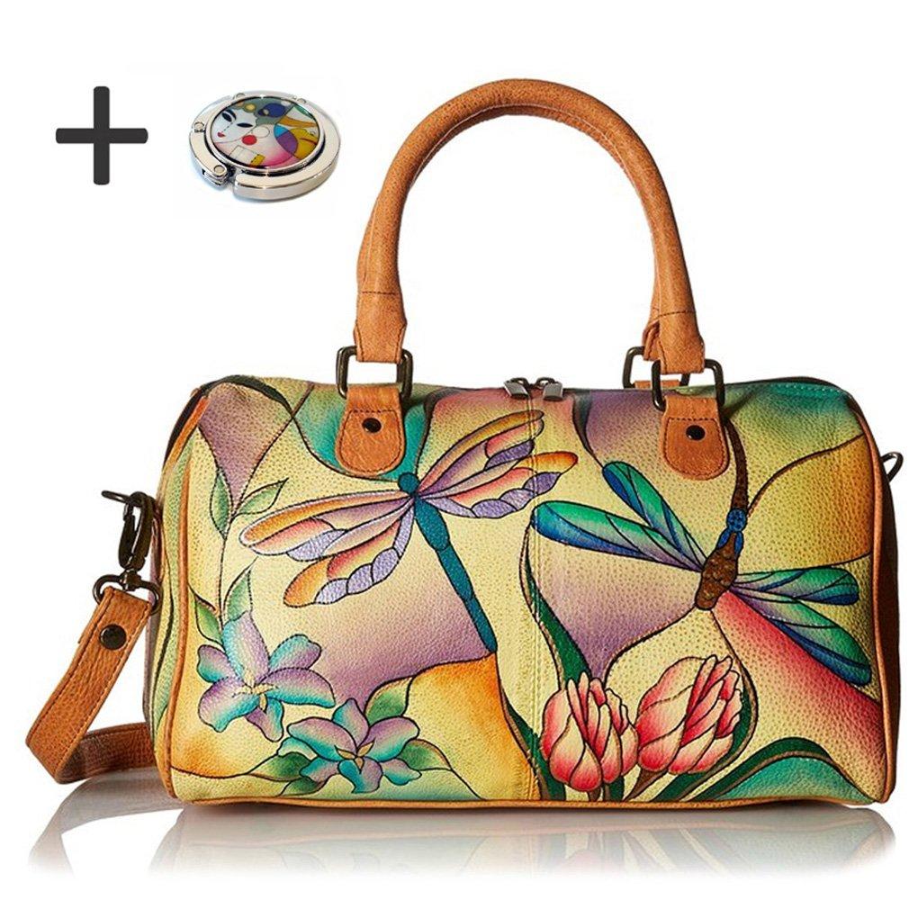 Anna By Anuschka Satchel Handbag & Purse Holder (Round Dragonfly Glass Painting) by Anna by Anuschka