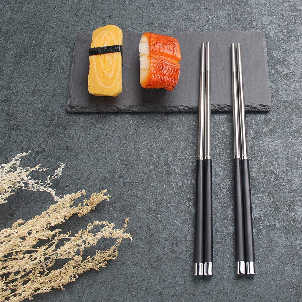 Crazy-M 2 Set de Haute qualit/é Alliage Baguettes Baguettes Baguettes Baguettes Baguettes en Acier Inoxydable avec Support Cadeau Set Chinois Baguettes Couverts asiatiques avec Un Cercueil Noir