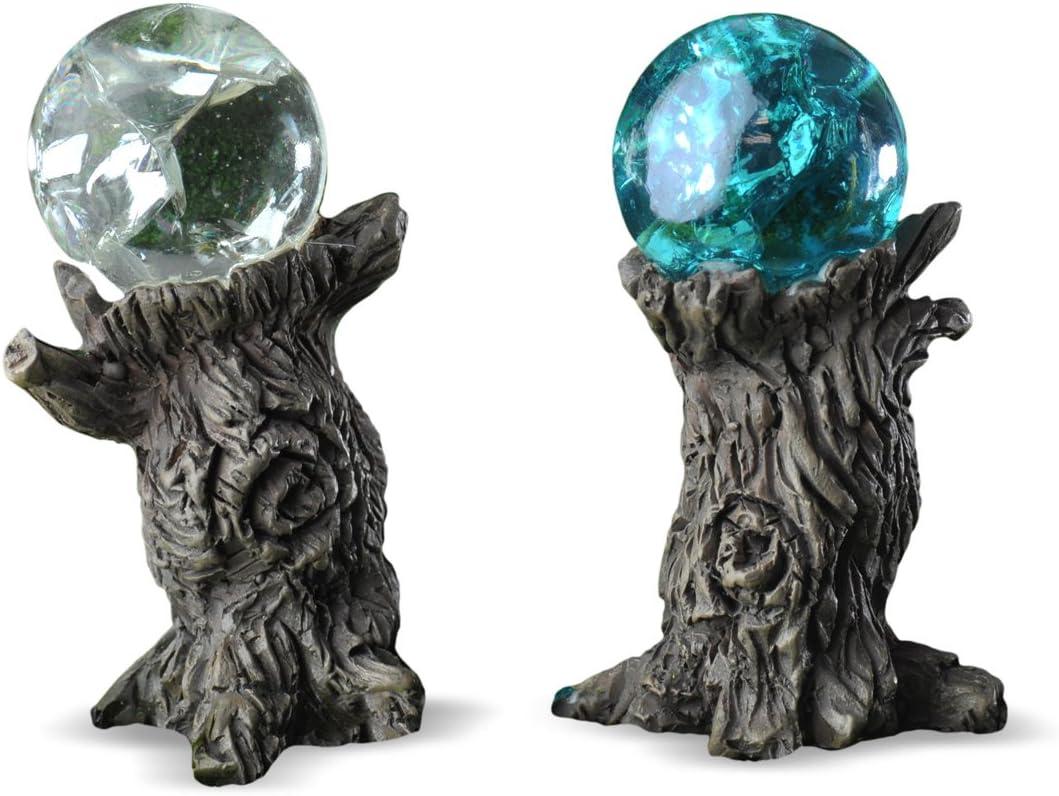 Georgetown Home & Garden Miniature Stump Gazing Balls Garden Decor, Crystal/Blue