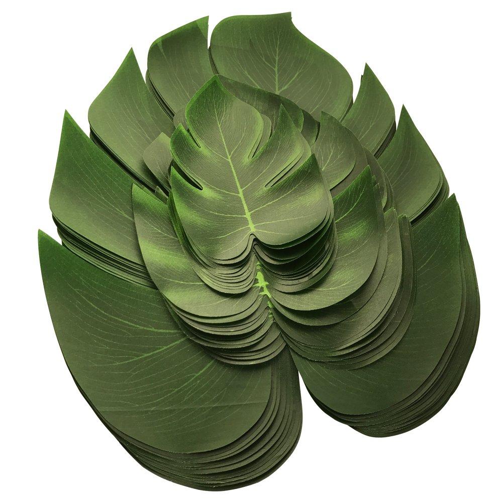 36Pcs Artificial Palm Leaves Fake Monstera Leaf Wedding DIY Decoration Green Plant Arrangement for Flowers Tableware(12pcs L, 12pcs M, 12pcs S) Belee