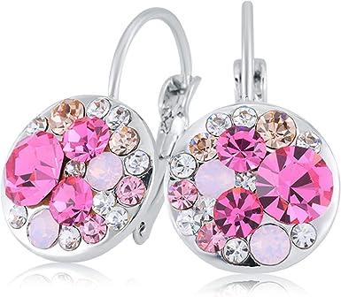 Pink Crystal Leverback Hoop Earrings Silver Tone Jewelry